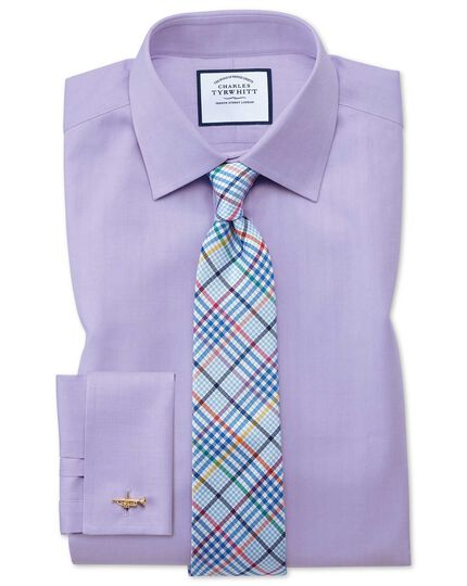 Classic Fit Hemd mit feinem Fischgrätmuster in Flieder