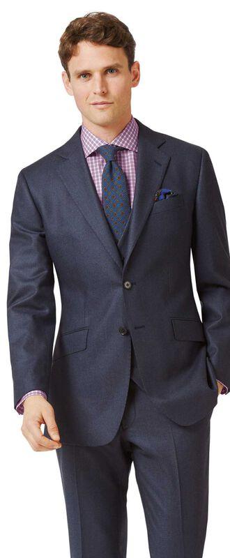 Veste de costume business bleu acier en flanelle slim fit