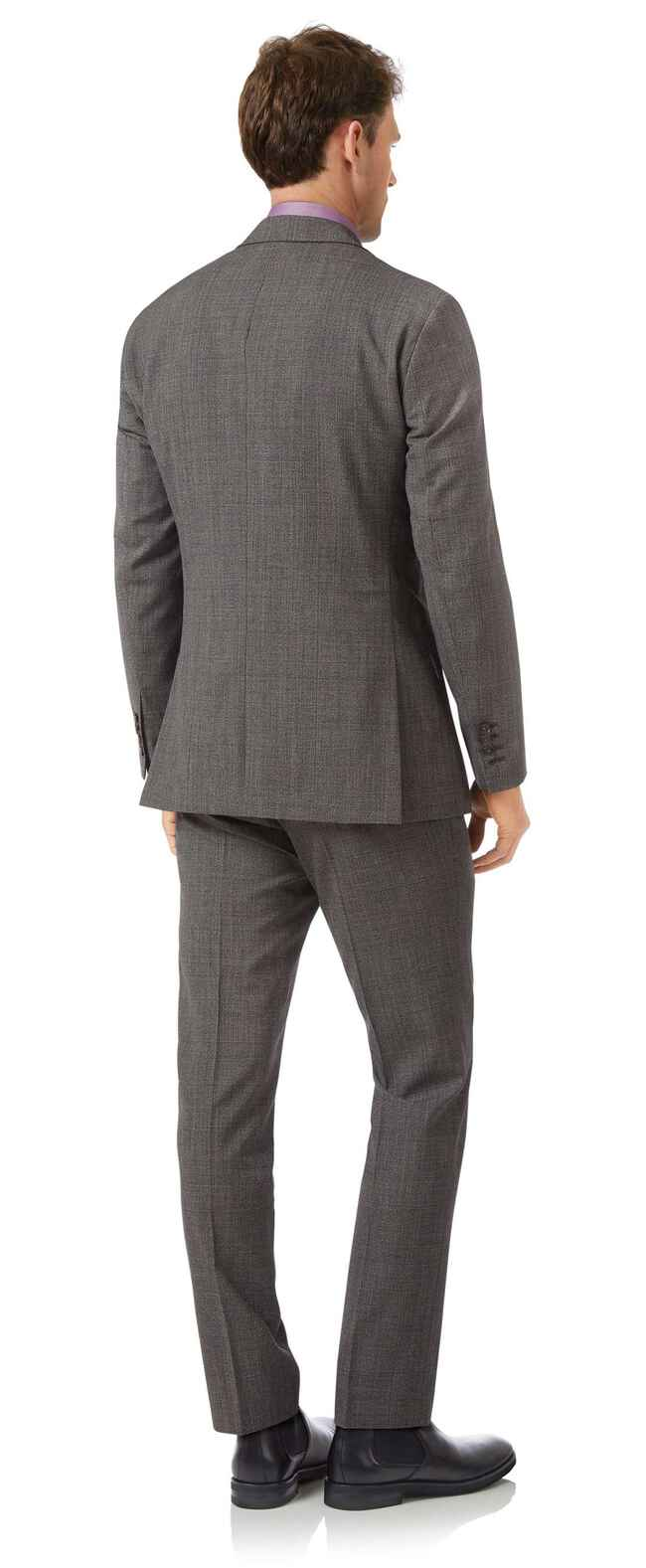 Grey slim fit jaspe check business suit