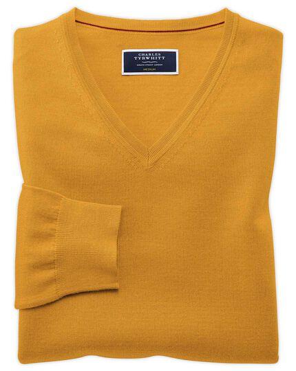 Gold merino v-neck sweater