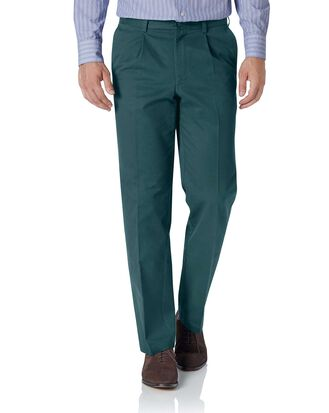 Teal classic fit single pleat washed chinos