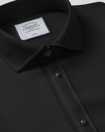 Bügelfreies Popeline-Hemd mit Haifischkragen  - Schwarz