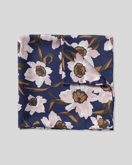Watercolour Floral Print Pocket Square - Navy & Pink