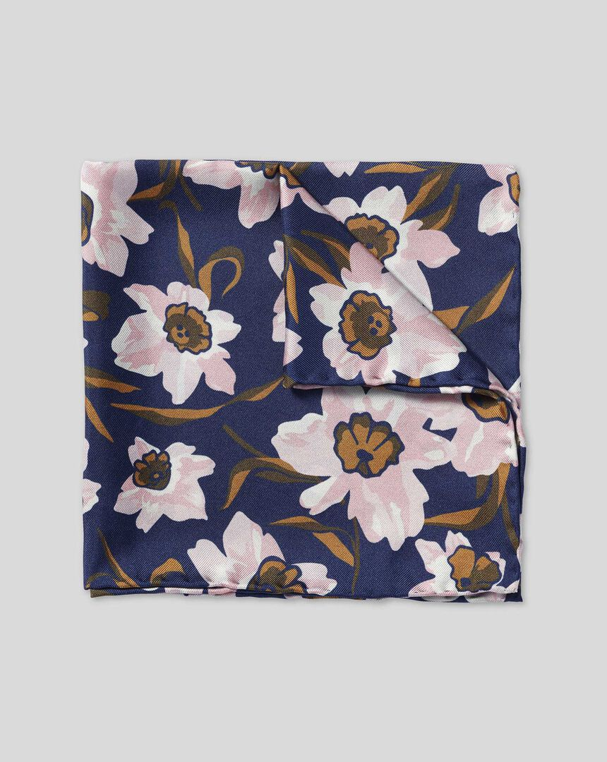 Watercolor Floral Print Pocket Square - Navy & Pink