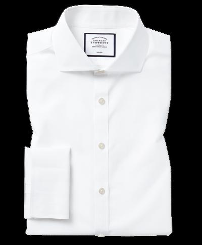 Slim fit white non-iron poplin spread collar shirt