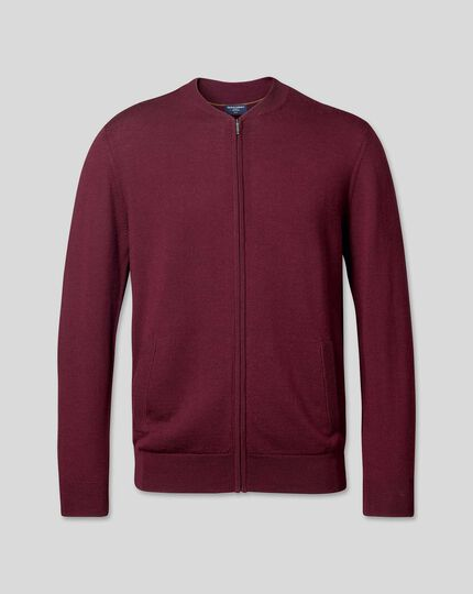 Merino Zip Through Bomber Jacket - Burgundy