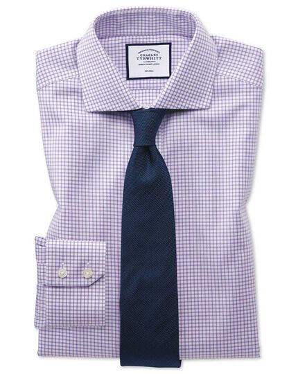 Slim fit non-iron spread collar lilac grid check Oxford stretch shirt