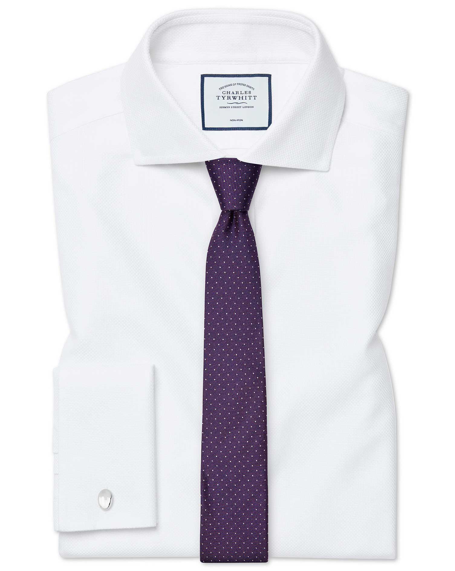 Cravate slim en soie violette à pois