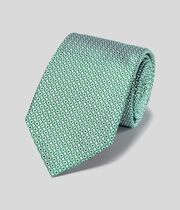Stain Resistant Silk Classic Tie - Green & White