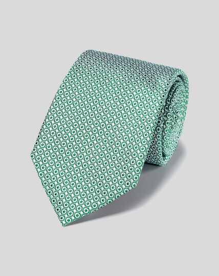 Stain Resistant Silk Tie - Green & White
