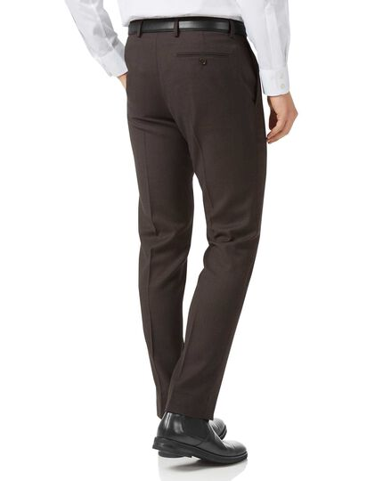 Brown slim fit birdseye travel suit pants