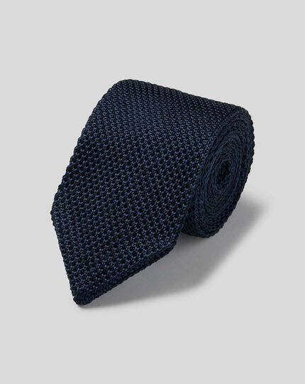 Slim Silk Knitted Tie - Navy