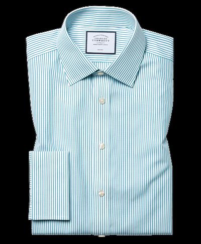 Classic fit non-iron stripe green shirt