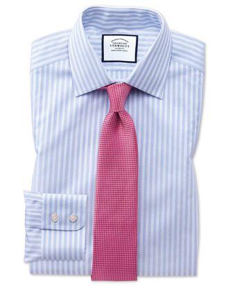 Classic fit sky blue dobby textured stripe shirt