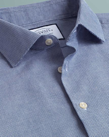 Slim fit business casual leno texture blue shirt