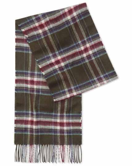 Olive multi check cashmere scarf