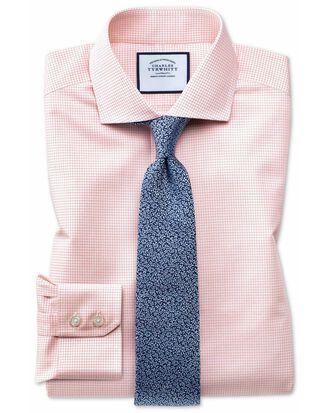 Slim fit spread collar non-iron natural cool micro check orange shirt