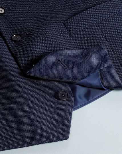 Airforce blue slim fit birdseye travel suit waistcoat