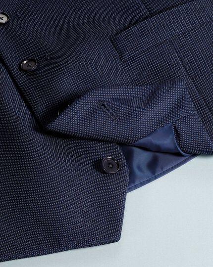 Airforce blue slim fit birdseye travel suit vest