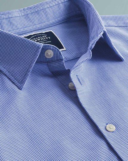 Chemise bleu roi coupe droite légèrement texturée à micro carreaux et manches courtes