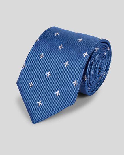Silk Fleur-de-lys Stain Resistant Classic Tie - Blue & White