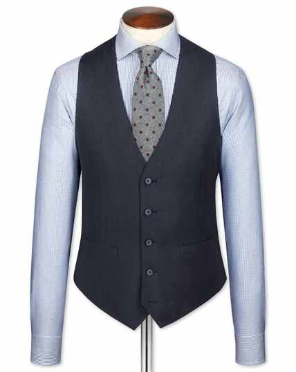 Blue slim fit sharkskin travel suit vest