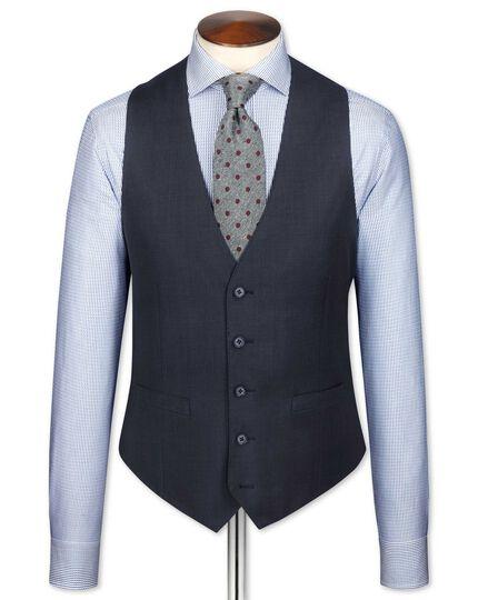Blue slim fit sharkskin travel suit waistcoat