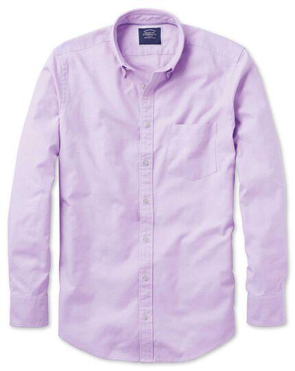 Chemise lilas unie en oxford délavé slim fit à col boutonné