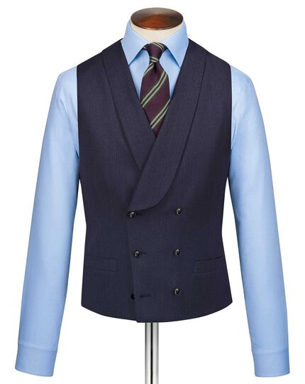 Navy adjustable fit Italian twill luxury suit waistcoat