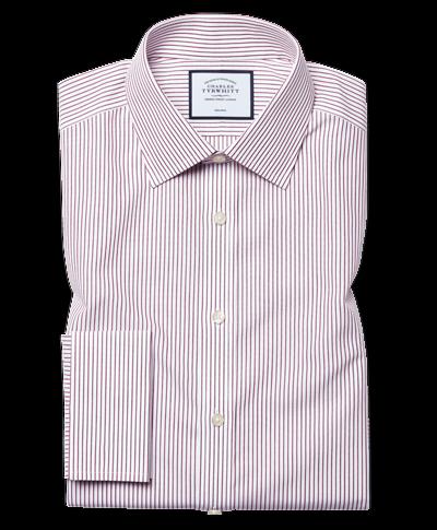 Slim fit non-iron stripe purple shirt