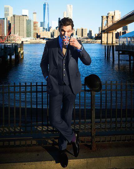 Indigo slim fit saxony business suit pants
