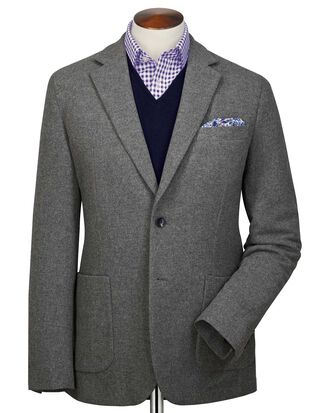 Slim fit grey plain wool flannel blazer