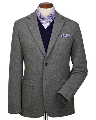 Blazer gris en flanelle de laine unie slim fit