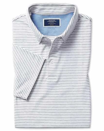 White stripe short sleeve jersey polo