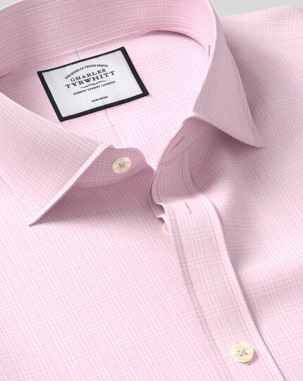 Cutaway Collar Non-Iron Prince of Wales Check Shirt - Pink