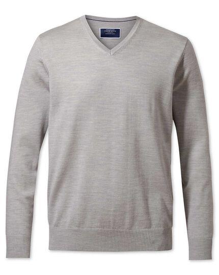 161350639b8 Silver merino wool v-neck jumper