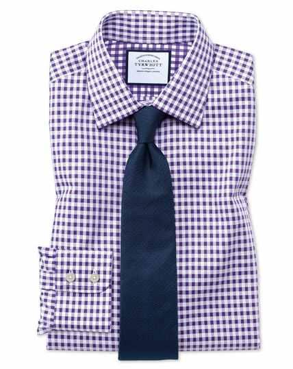 Extra slim fit non-iron gingham purple shirt