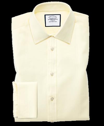 Extra slim fit fine herringbone yellow shirt