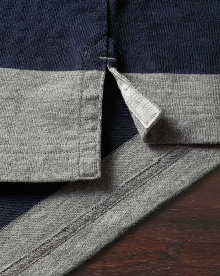 Navy, grey and blue stripe long sleeve rugby shirt