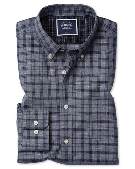 Extra slim fit grey check soft wash non-iron twill shirt