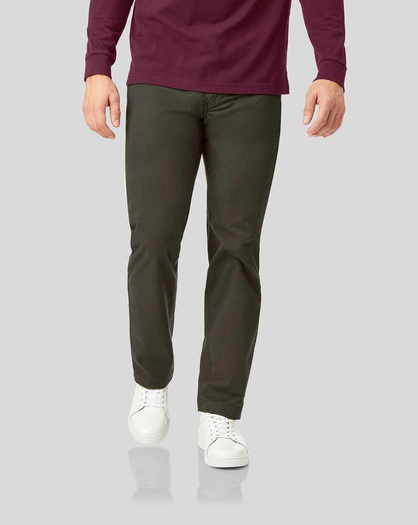 Cotton Stretch Five Pocket Trouser - Olive