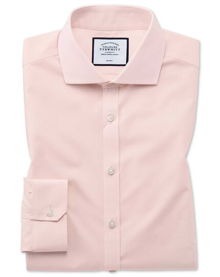 Super slim fit non-iron Tyrwhitt Cool poplin peach shirt
