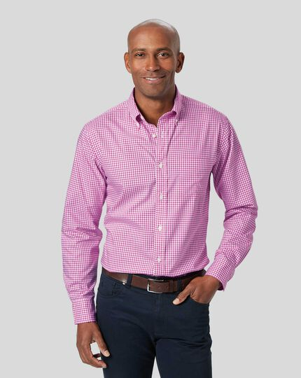 Button-Down Collar Non-Iron Stretch Poplin Gingham Shirt - Berry