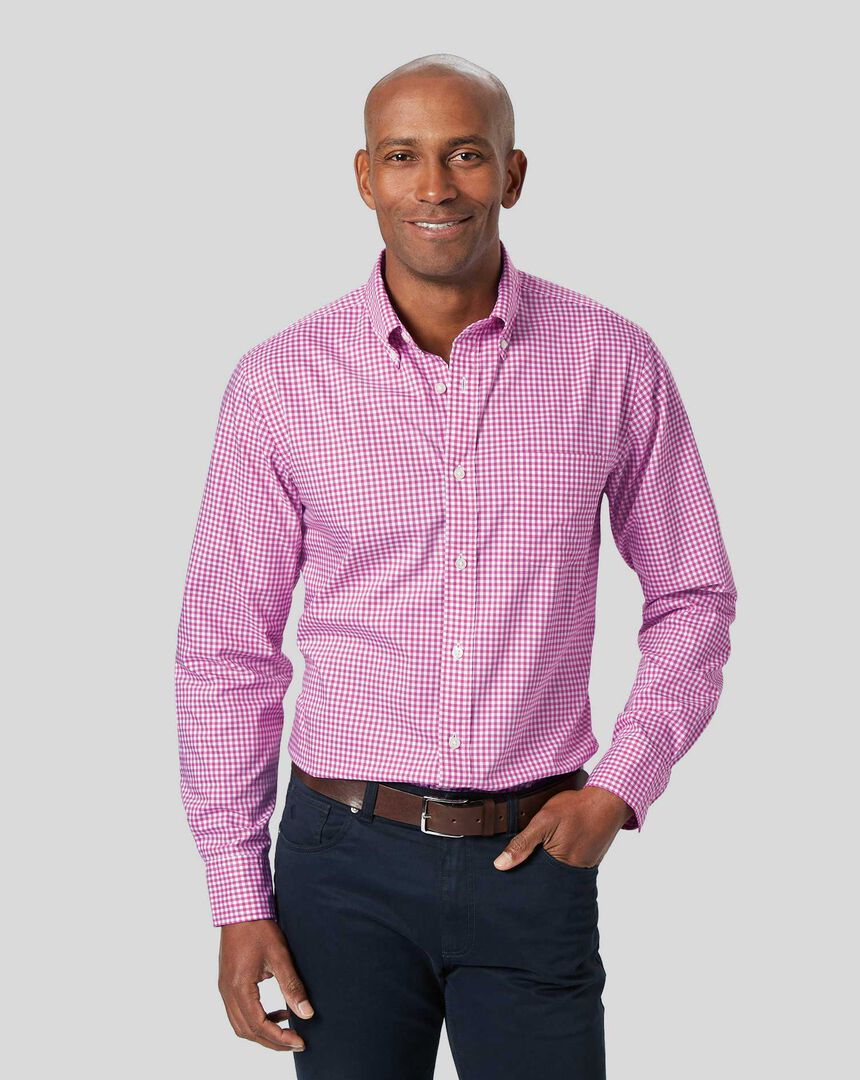 Button-Down Collar Non-Iron Stretch Poplin Gingham Shirt - Berry