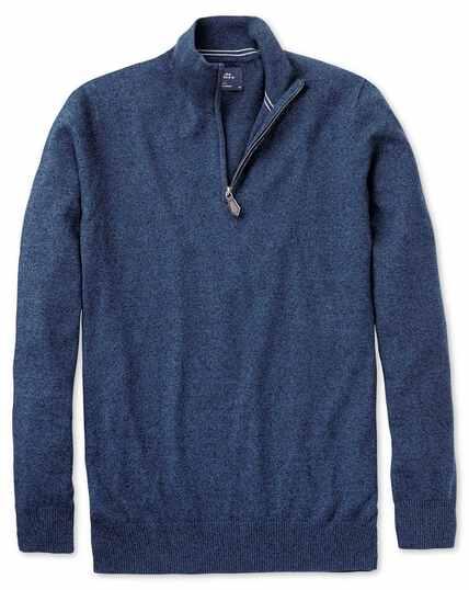 Indigo cotton cashmere zip neck sweater
