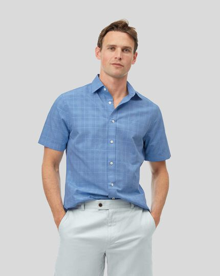 Classic Collar Short Sleeve Tone-on-tone Check Shirt - Sky
