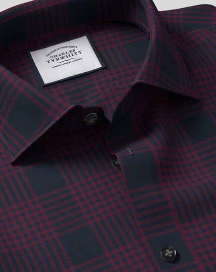 Smart Casual Collar Large Check Shirt - Burgundy