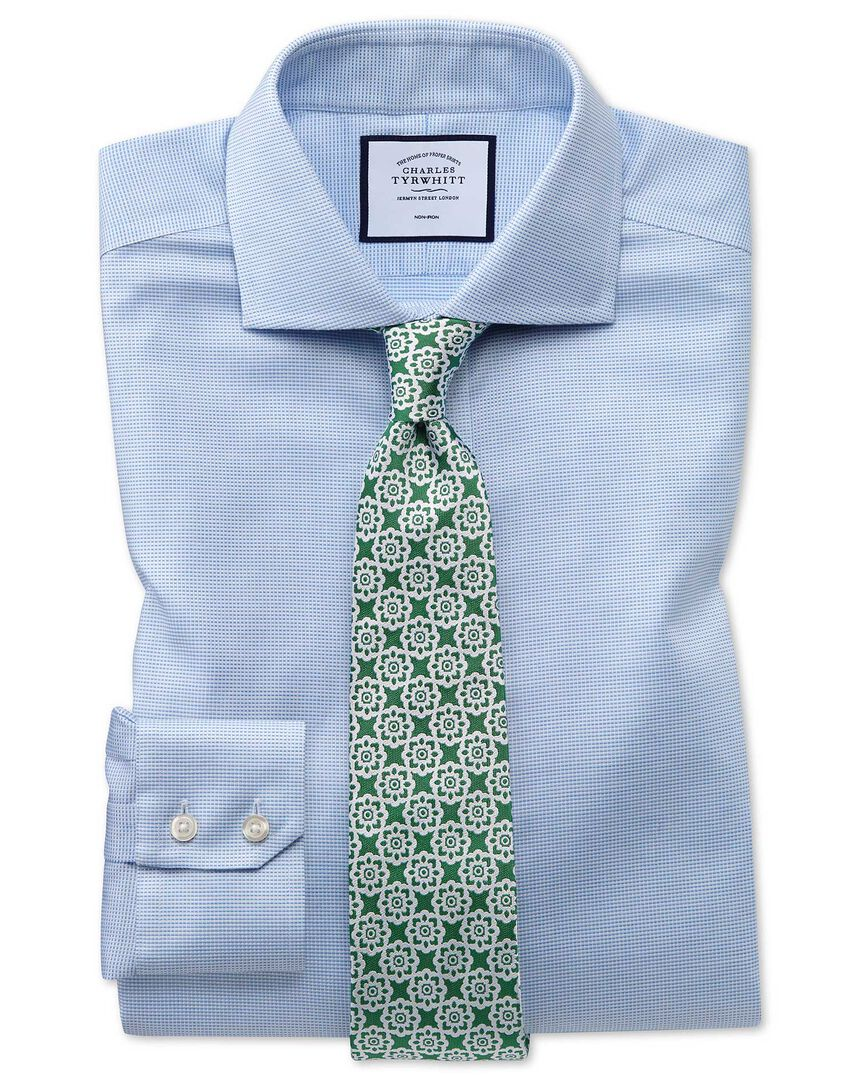 Slim fit non-iron cotton stretch Oxford sky blue shirt