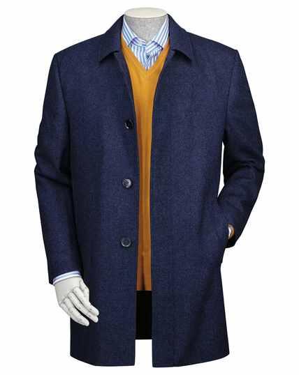 Blue wool car coat