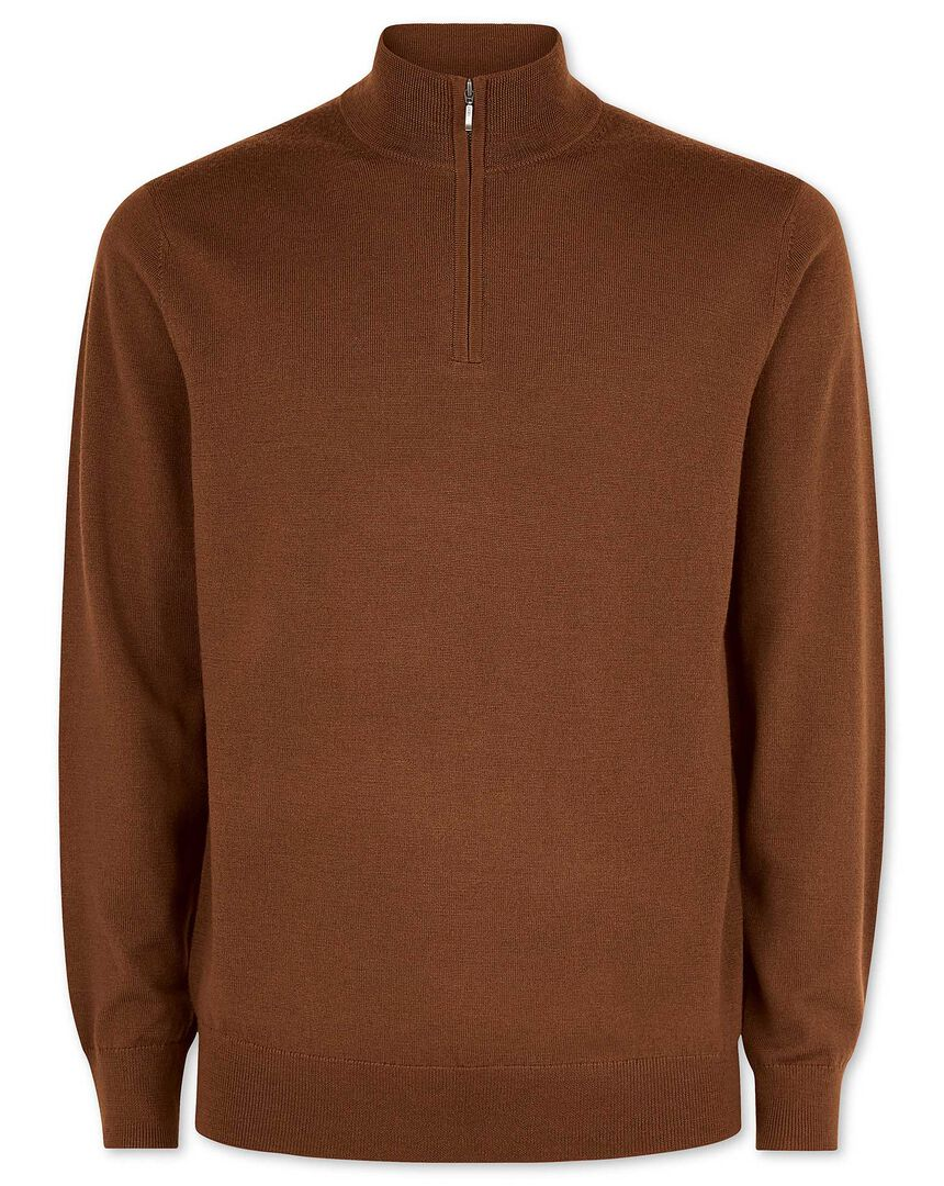 Ochre merino zip neck jumper